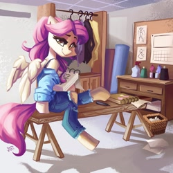 Size: 1600x1600 | Tagged: safe, artist:saxopi, oc, oc only, oc:camo raderie, pegasus, basket, bench, clothes, female, jeans, looking at you, looking back, mare, notebook, pants, ripped jeans, solo