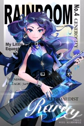 Size: 2362x3543 | Tagged: safe, artist:alice-x, rarity, equestria girls, rainbow rocks, braces, clothes, collar, ear piercing, earring, glasses, jacket, jewelry, keytar, looking at you, musical instrument, piercing, skirt, smiling, smiling at you, solo, strapless, sunglasses, the rainbooms