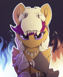 Size: 2039x2481 | Tagged: safe, artist:hitbass, scootaloo, pegasus, pony, bone, dragon slayer, fantasy class, female, filly, fire, helmet, high res, jewelry, looking at you, necklace, skeleton, skull, skull helmet, solo, tooth necklace