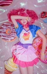 Size: 2094x3265 | Tagged: safe, artist:-洛欣曦羽-, pinkie pie, human, clothes, cosplay, costume, irl, irl human, lying down, photo, solo