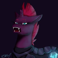 Size: 800x800 | Tagged: safe, artist:heartshy_for_you, tempest shadow, pony, unicorn, armor, broken horn, eye scar, fangs, female, horn, mare, open mouth, open up your eyes, purple background, scar, signature, simple background, solo