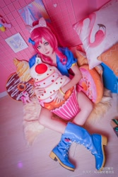 Size: 2177x3265 | Tagged: safe, artist:-洛欣曦羽-, pinkie pie, human, clothes, cosplay, costume, cushion, irl, irl human, photo, pillow, sitting, sitting on floor, solo