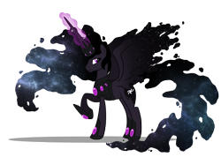 Size: 1790x1273 | Tagged: safe, artist:lugiaangel, oc, oc:king cosmos, alicorn, alicorn oc, celestia and luna's father, ethereal mane, galaxy mane, horn, magic, magic aura, simple background, solo, transparent background, wings
