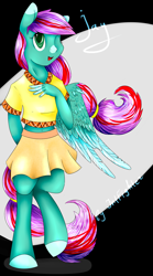 Size: 1200x2164 | Tagged: safe, artist:intfighter, oc, oc only, anthro, pegasus, unguligrade anthro, clothes, colored hooves, one eye closed, open mouth, pegasus oc, skirt, solo, wings, wink