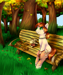 Size: 1267x1500 | Tagged: safe, artist:intfighter, oc, oc only, earth pony, pony, bench, earth pony oc, forest, jewelry, leaves, necklace, outdoors, plushie, sitting, solo, tree