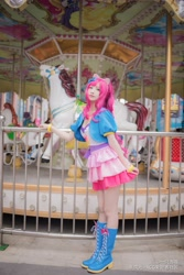 Size: 3648x5472 | Tagged: safe, artist:一只杏喵, pinkie pie, human, carousel, clothes, cosplay, costume, irl, irl human, photo, solo