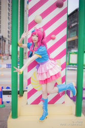 Size: 3648x5472 | Tagged: safe, artist:一只杏喵, pinkie pie, human, clothes, cosplay, costume, irl, irl human, photo, solo