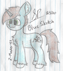 Size: 1900x2152 | Tagged: safe, artist:mlplayer dudez, oc, oc only, pony, unicorn, chest fluff, cute, ear fluff, fluffy, happy, leg fluff, male, signature, smiling, solo, stallion, standing, traditional art