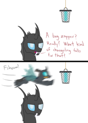 Size: 2000x2788 | Tagged: safe, artist:mightyshockwave, oc, oc only, oc:coxa, oc:mimesis, changeling, aniscoria, bug zapper, bugs doing bug things, comic, looking at you, this will end in electrocution, this will end in pain