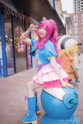 Size: 3648x5472 | Tagged: safe, artist:一只杏喵, pinkie pie, human, clothes, cosplay, costume, irl, irl human, photo, sitting, solo