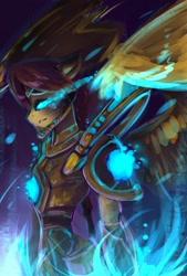 Size: 728x1080 | Tagged: safe, artist:kiwwsplash, oc, oc only, anthro, pegasus, armor, glowing eyes, pegasus oc, sombra eyes, wings
