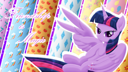 Size: 2560x1440 | Tagged: safe, artist:lifesharbinger, twilight sparkle, alicorn, pony, cutie mark, female, high res, looking at you, mare, peace sign, smiling, solo, text, twilight sparkle (alicorn), twilight sparkle day, wing hands, wings