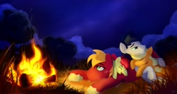 Size: 1280x683 | Tagged: safe, artist:rutkotka, apple bloom, applejack, big macintosh, oc, oc:constance everheart, campfire, canon x oc, commission, cute, everjack, family, female, filly, grass, laughing, male, mare, nature, night, orchard, shipping, stallion, straight, tall grass