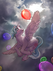 Size: 1766x2390 | Tagged: safe, artist:oops, oc, oc only, oc:effy, alicorn, balloon, cloud, cloudy, digital art, flying, hooves, horn, sky, solo, wings