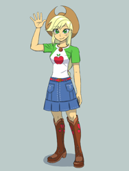 Size: 1620x2160   Tagged: safe, artist:haibaratomoe, applejack, equestria girls, boots, clothes, cowboy hat, female, gray background, hat, looking at you, shoes, simple background, skirt, solo, wave, waving