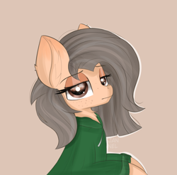 Size: 2861x2813 | Tagged: safe, artist:janelearts, oc, pony, bust, clothes, female, high res, hoodie, mare, portrait, simple background, solo