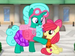 Size: 1440x1080 | Tagged: safe, artist:徐詩珮, apple bloom, glitter drops, earth pony, pony, unicorn, series:sprglitemplight diary, series:sprglitemplight life jacket days, series:springshadowdrops diary, series:springshadowdrops life jacket days, adorabloom, alternate universe, clothes, cute, duo, female, filly, glitterbetes, lifejacket, mare, paw patrol, skye (paw patrol)