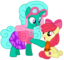 Size: 1117x1043 | Tagged: safe, artist:徐詩珮, apple bloom, glitter drops, earth pony, pony, unicorn, series:sprglitemplight diary, series:sprglitemplight life jacket days, series:springshadowdrops diary, series:springshadowdrops life jacket days, adorabloom, alternate universe, clothes, cute, duo, female, filly, glitterbetes, lifejacket, mare, paw patrol, simple background, skye (paw patrol), transparent background