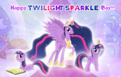 Size: 1280x807 | Tagged: safe, artist:andoanimalia, twilight sparkle, alicorn, the last problem, big crown thingy, book, element of magic, jewelry, princess twilight 2.0, regalia, twilight day, twilight sparkle (alicorn), twilight sparkle day