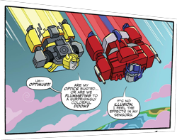 Size: 1904x1501 | Tagged: safe, idw, spoiler:comic, spoiler:friendship in disguise, spoiler:friendship in disguise01, autobot, bumblebee, cropped, crossover, optimus prime, transformers