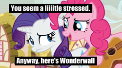 Size: 924x515 | Tagged: safe, edit, edited screencap, editor:pony-berserker, screencap, pinkie pie, rarity, earth pony, unicorn, honest apple, guitar, meme, musical instrument, wonderwall
