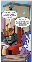 Size: 864x1672 | Tagged: safe, idw, rarity, pony, unicorn, spoiler:comic, spoiler:friendship in disguise, spoiler:friendship in disguise01, cropped, crossover, decepticon, starscream, transformers