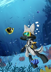 Size: 2150x3035 | Tagged: safe, artist:chef-cheiro, oc, oc:sea glow, fish, pony, air tank, bubble, diving, diving suit, drysuit, flippers, male, regulator, respirator, rubber, scuba, scuba diving, scuba gear, scuba mask, shiny, solo, stallion, swimming, underwater, wetsuit