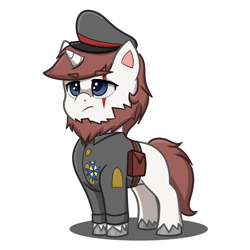 Size: 4093x4093 | Tagged: safe, artist:jcosneverexisted, oc, oc only, oc:frederick, pony, unicorn, my little pony: pony life, angry, beard, cap, clothes, facial hair, hat, male, scar, simple background, solo, stallion, transparent background, uniform, unshorn fetlocks