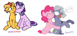 Size: 1566x731 | Tagged: safe, artist:yaaaco, limestone pie, pinkie pie, starlight glimmer, sunset shimmer, earth pony, pony, unicorn, alternate hairstyle, annoyed, blushing, eyes closed, female, grin, hug, kiss on the cheek, kissing, lesbian, mare, one eye closed, open mouth, shimmerglimmer, shipping, siblings, simple background, sisters, sitting, smiling, white background, wink