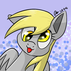 Size: 600x600 | Tagged: safe, artist:mysteryart716, derpy hooves, pegasus, pony, :3, bust, female, mare, one ear down, portrait, solo