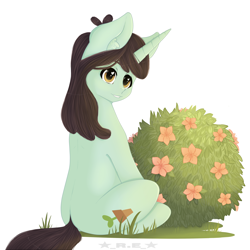 Size: 3840x3840 | Tagged: safe, artist:rise_of_evil_69, sprout greenhoof, pony, unicorn, big eyes, brown mane, ear fluff, flower, grass, grass field, green body, las pegasus resident, looking at you, shrub, simple background, solo, white background, yellow eyes