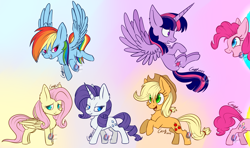 Size: 3180x1885 | Tagged: safe, artist:mysteryart716, applejack, fluttershy, pinkie pie, rainbow dash, rarity, twilight sparkle, alicorn, earth pony, pegasus, pony, unicorn, chest fluff, chibi, female, mane six, mare, now you're thinking with portals, pinkie being pinkie, portal, redraw, twilight sparkle (alicorn), watermark