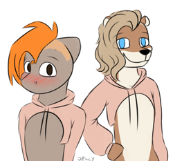 Size: 3000x2800 | Tagged: safe, artist:jellysiek, artist:jellyys, oc, oc only, oc:carmel, anthro, otter, pegasus, blushing, duo, eye clipping through hair, furry, looking at you, other species, shy, simple background, smiling, white background
