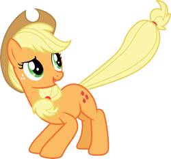 Size: 3218x3000 | Tagged: safe, artist:cloudyglow, applejack, bats!, simple background, solo, transparent background, vector
