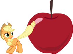 Size: 4072x3000 | Tagged: safe, artist:cloudyglow, applejack, bats!, apple, food, simple background, solo, transparent background, vector