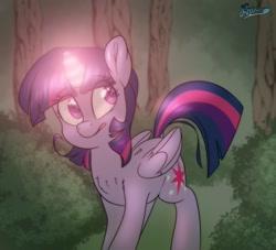 Size: 1280x1164 | Tagged: safe, artist:fluffyxai, twilight sparkle, alicorn, pony, everfree forest, female, glowing horn, horn, mare, solo, twilight day, twilight sparkle (alicorn), worried
