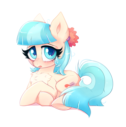 Size: 2269x2285 | Tagged: safe, artist:ravensunart, coco pommel, earth pony, pony, blushing, chest fluff, cocobetes, crossed hooves, cute, female, flower, flower in hair, high res, lying down, mare, missing accessory, shy, simple background, solo, underhoof, white background