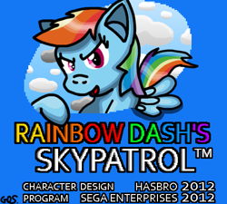 Size: 480x432 | Tagged: safe, artist:mudkip91/tetrahedron, rainbow dash, pegasus, pony, 20% cooler, cloud, crossover, drawing edit, game crossover, gradient, rainbow dash approved, rainbow dash's skypatrol, rainbow text, sega, shading, sky, sonic the hedgehog (series), tails skypatrol, title, title screen