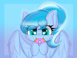 Size: 5013x3744 | Tagged: safe, artist:janelearts, oc, pegasus, pony, absurd resolution, chibi, donut, female, food, mare, solo