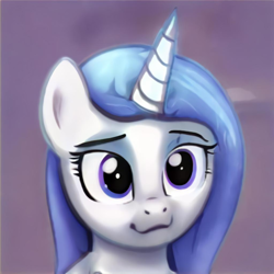 Size: 1024x1024 | Tagged: safe, artist:thisponydoesnotexist, oc, pony, unicorn, blue eyes, cat smile, cute, female, mare, neural network, smiling