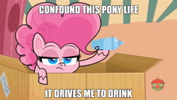 Size: 640x360 | Tagged: safe, screencap, pinkie pie, earth pony, pony, badge of shame, my little pony: pony life, spoiler:pony life s01e13, caption, confound these ponies, image macro, solo, text