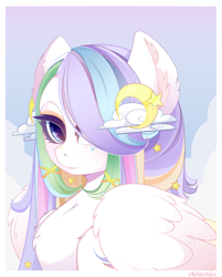 Size: 2627x3274 | Tagged: safe, artist:xsatanielx, oc, oc only, oc:comet tail, pegasus, pony, bust, female, hair over one eye, high res, looking at you, mare, portrait, rcf community, solo
