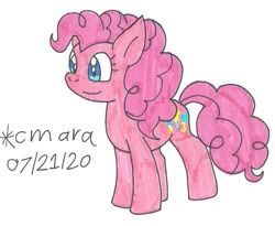 Size: 937x767 | Tagged: safe, artist:cmara, pinkie pie, earth pony, pony, female, mare, simple background, smiling, solo, traditional art, white background