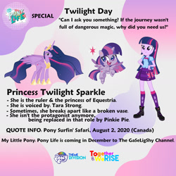 Size: 1414x1414 | Tagged: safe, artist:crystalmagic6, artist:invisibleink, twilight sparkle, alicorn, human, equestria girls, my little pony: pony life, pony surfin' safari, the last problem, graphic design is my passion, humanized, meta, princess twilight 2.0, twilight day, twilight sparkle (alicorn), twilight sparkle day, twitter