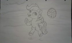 Size: 2560x1536 | Tagged: safe, artist:peternators, scootaloo, pegasus, pony, ball, female, filly, jumping, monochrome, sketch, solo, sports, traditional art, volleyball