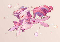 Size: 4093x2894 | Tagged: safe, artist:shore2020, potion nova, pony, unicorn, meet potion nova!, my little pony: pony life, spoiler:pony life s01e21, bubble, eyes closed, female, floppy ears, high res, mare, pink background, profile, simple background, solo
