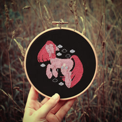 Size: 798x798 | Tagged: safe, artist:ipoloarts, pinkie pie, earth pony, cross stitch, crossstitching, embroidery, handmade, needlework, pinkamena diane pie, sad, solo