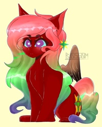 Size: 1280x1600 | Tagged: safe, artist:shinningblossom12, oc, oc only, pegasus, pony, heart eyes, multicolored hair, pegasus oc, rainbow hair, simple background, solo, wingding eyes, wings, yellow background