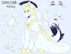 Size: 1280x965 | Tagged: safe, artist:shinningblossom12, oc, oc only, oc:capuccino, pegasus, pony, armor, bandage, eye scar, helmet, hoof shoes, horn, leonine tail, pegasus oc, reference sheet, royal guard, scar, solo, wings