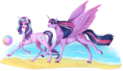 Size: 1834x1058 | Tagged: safe, artist:lou1911, starlight glimmer, twilight sparkle, alicorn, beach, beach ball, digital art, realistic anatomy, realistic horse legs, realistic wings, simple background, transparent background, twilight sparkle (alicorn), wings